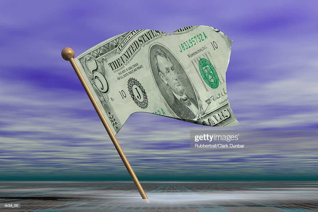 a five dollar bill flag with torn edges waves against a purple sky background : Stockfoto