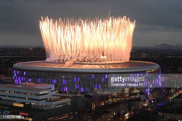 `a general view ahead of the Premier League match between Tottenham Hotspur and Crystal Palace at Tottenham Hotspur Stadium on April 03 2019 in...