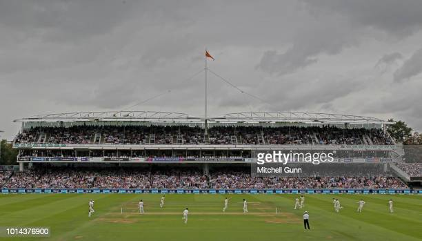 a general view as James Anderson of England celebrates taking the wicket of K L Rahul of India during the day two of the Specsavers 2nd Test match...