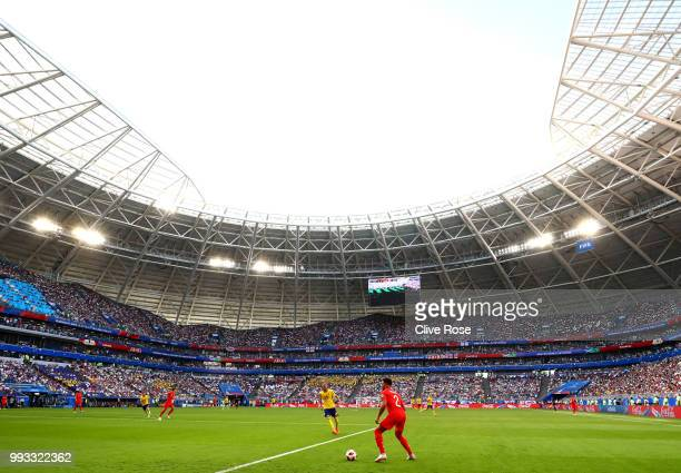 a General view inside the stadium as Kyle Walker of England controls the ball during the 2018 FIFA World Cup Russia Quarter Final match between...