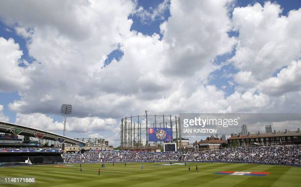 A general view is pictured during the 2019 Cricket World Cup warm up match between India and New Zealand at The Oval in London on May 25, 2019.