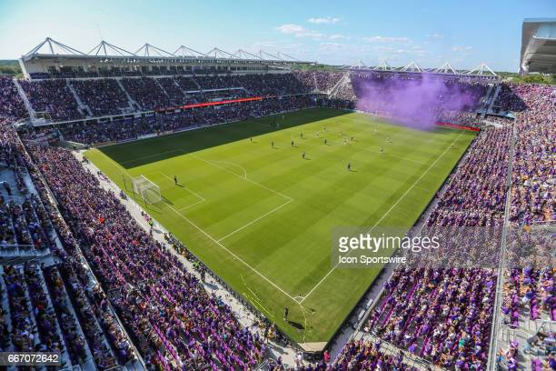 a general view of Orlando City Stadium during the soccer match between the Orlando City Lions and the NY Red Bulls on April 9 2017 at Orlando City...
