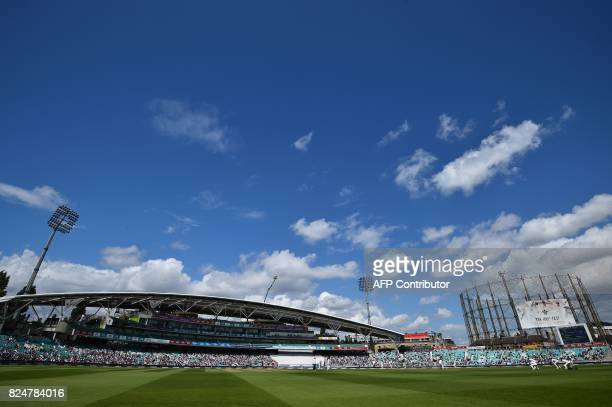 A general view of play at The Oval cricket ground in London on July 31 as South Africa bat on the final day of the third Test match between England...