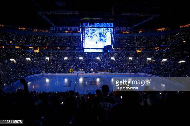 A general view of prior to Game Three of the 2019 NHL Stanley Cup Final between the Boston Bruins and the St. Louis Blues at Enterprise Center on...