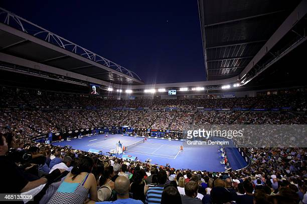 a general view of Rod Laver Arena in the men's final match between Rafael Nadal of Spain and Stanislas Wawrinka of Switzerland during day 14 of the...
