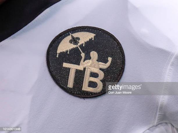 a general view of special jersey patches memorializing former owner Tom Benson on Wide Receiver Ted Ginn Jr #19 of the New Orleans Saints jersey...