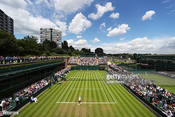 a general view of supporters watching on as Dominika Cibulkova of Slovakia is in action in the Ladies Singles first round match against Mirjana...
