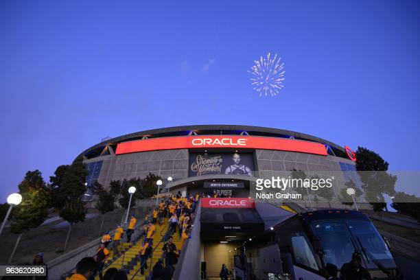 a general view of the arena after Game Six of the Western Conference Finals during the 2018 NBA Playoffs between the Houston Rockets and Golden State...