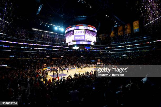 a general view of the arena after the Los Angeles Lakers defeated the Denver Nuggets 112103 on March 13 2018 at STAPLES Center in Los Angeles...