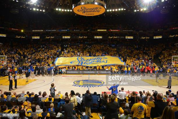 a general view of the arena during Game Six of the Western Conference Finals during the 2018 NBA Playoffs between the Houston Rockets and Golden...