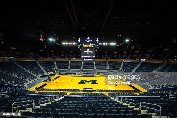 A general view of the arena during the Detroit Pistons open practice at Crisler Arena on September 29, 2018 in Ann Arbor, Michigan. NOTE TO USER:...