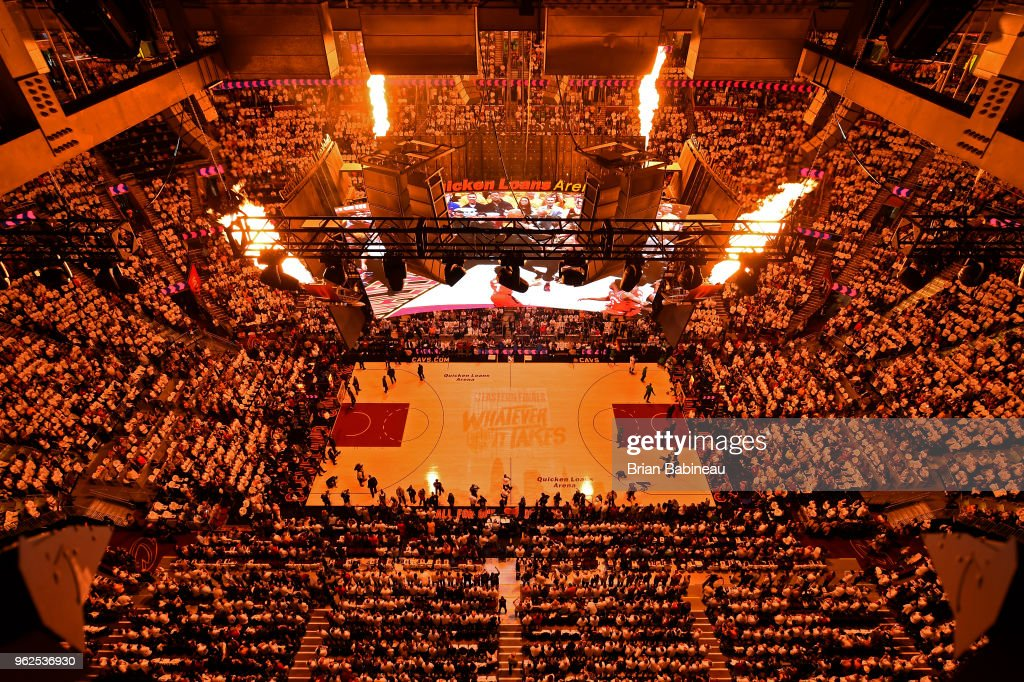 a general view of the arena prior to Game Six of the Eastern Conference Finals of the 2018 NBA Playoffs between the Cleveland Cavaliers and Boston Celtics on May 25, 2018 at Quicken Loans Arena in Cleveland, Ohio.