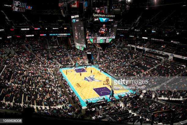 a general view of the Charlotte Hornets arena during the game against the Miami Heat on October 30 2018 at Spectrum Center in Charlotte North...