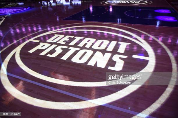 a general view of the Detroit Pistons logo during the game against the Brooklyn Nets during a preseason game on October 8 2018 at Little Caesars...