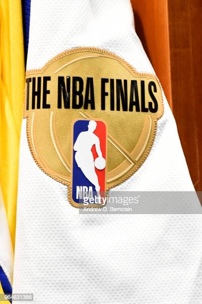 a general view of the finals logo on the jersey prior to Game One of the 2018 NBA Finals between the Golden State Warriors and Cleveland Cavaliers on...