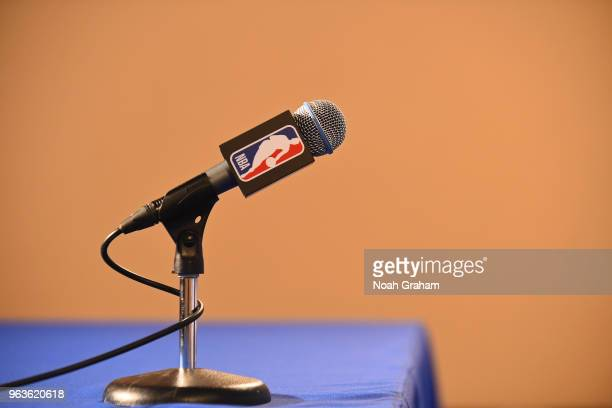 a general view of the interview microphone during Game Six of the Western Conference Finals during the 2018 NBA Playoffs between the Houston Rockets...