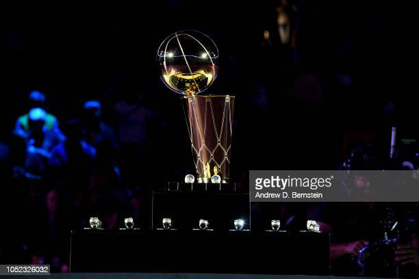 a general view of the Larry O'Brien Championship trophy prior to the Golden State Warriors ring ceremony before the game against the Oklahoma City...
