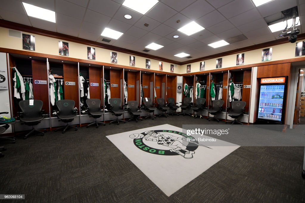 a general view of the locker room prior to Game Five of the Eastern Conference Finals of the 2018 NBA Playoffs between the Boston Celtics and Cleveland Cavaliers on May 23, 2018 at the TD Garden in Boston, Massachusetts.