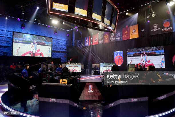 I 24k Dropoff I of Heat Check Gaming reacts with teammate Hotshot against Knicks Gaming on June 23 2018 at the NBA 2K League Studio Powered by Intel...