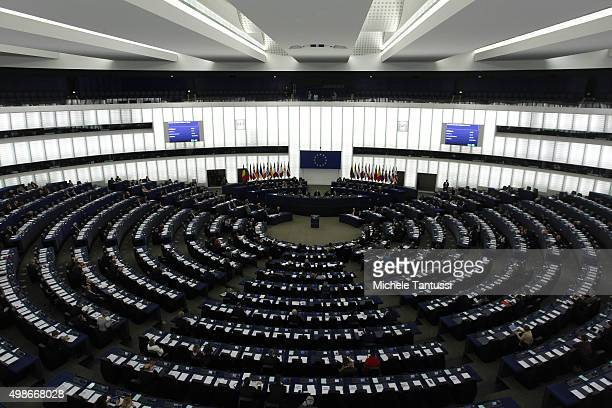 a general view of the plenary room in the European Parliament during the debate on the measures to fight the terrorism November 25 2015 in Strasbourg...