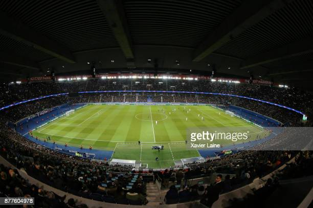 a general view of the stadium during the UEFA Champions League group B match between Paris SaintGermain and Celtic Glasgow at Parc des Princes on...