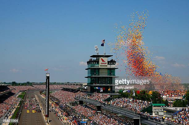 a general view of the track prior to the start of the NASCAR Nextel Cup Series 14th Allstate 400 at the Brickyard at Indianapolis Motor Speedway on...
