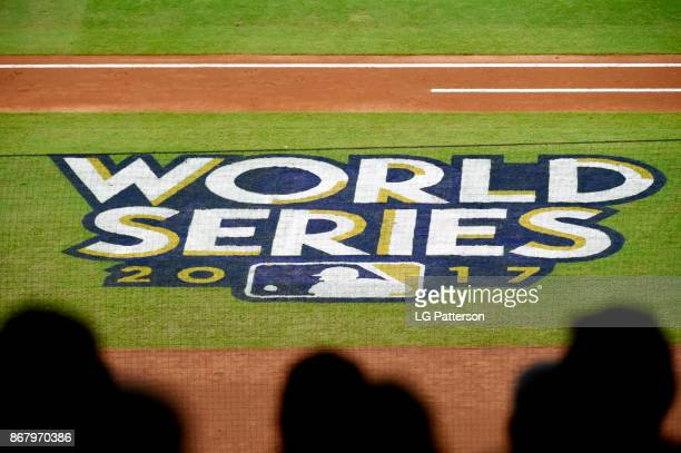 a general view of the World Series logo on the field during Game 5 of the 2017 World Series between the Los Angeles Dodgers and the Houston Astros at...