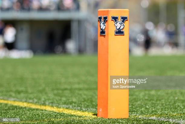 A general view of the Yale Bulldog logo on a pylon during a college lacrosse match between Albany Great Danes and Yale Bulldogs on April 22 at Reese...
