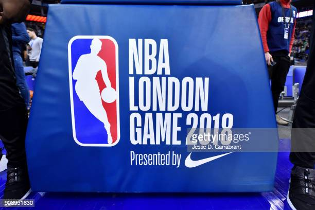 a generic basketball photo of the NBA London Basketball game signage on January 11 2018 at The O2 Arena in London England as part of the 2018 NBA...