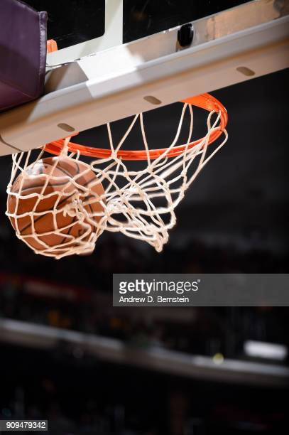 a generic view of the ball going through the net during the game between the Los Angeles Lakers and Boston Celtics on January 23 2018 at STAPLES...