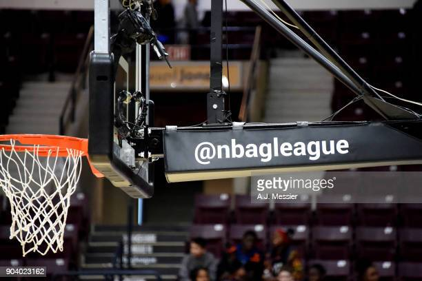a generic view of the NBA G league signage during the NBA G League Showcase Game 11 between the Long Island Nets and South Bay Lakers on January 11...