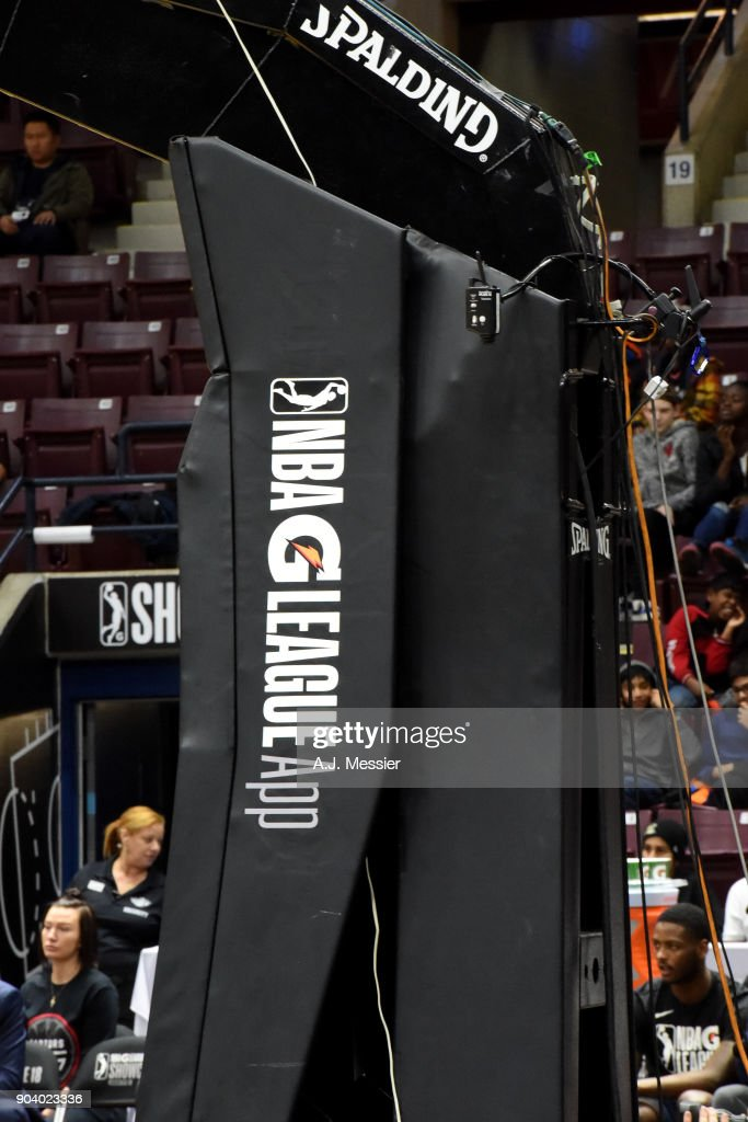 a generic view of the NBA G league signage during the NBA G League Showcase Game 11 between the Long Island Nets and South Bay Lakers on January 11, 2018 at the Hershey Centre in Mississauga, Ontario Canada.