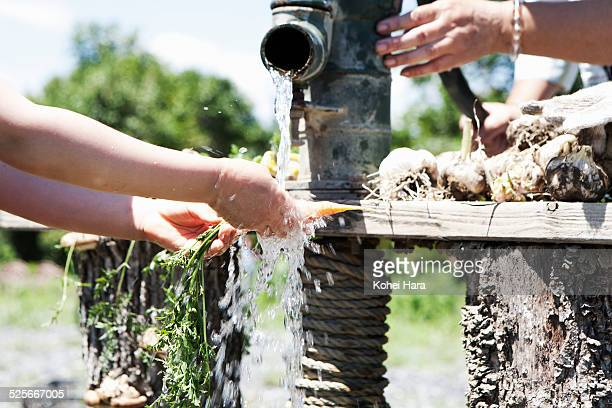 a girl and senior woman doing farm work - water pump stock pictures, royalty-free photos & images
