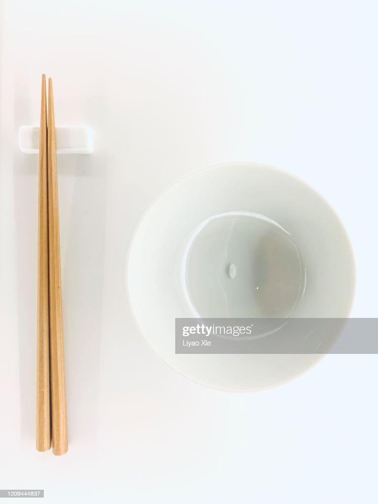 a grain Rice with Chopsticks : Stock Photo