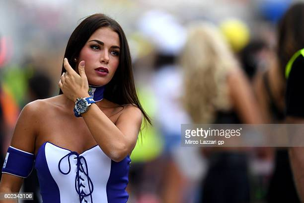 a grid girl is seen during MotoGP of San Marino race at Misano World Circuit on September 11 2016 in Misano Adriatico Italy