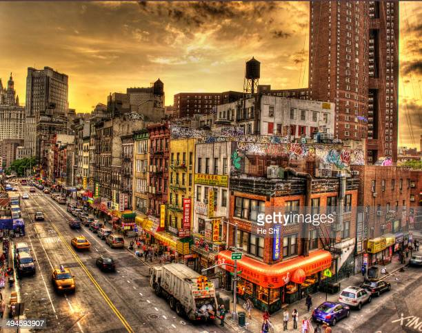 CONTENT] a HDR style photo of Manhattan's Chinatown Seen from the manhattan bridge