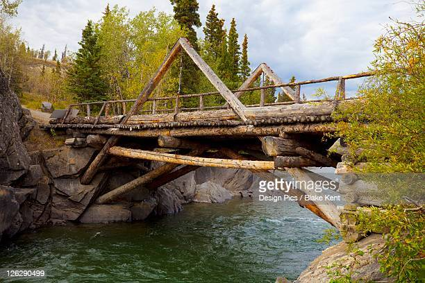 a historic log bridge, frontier bridge