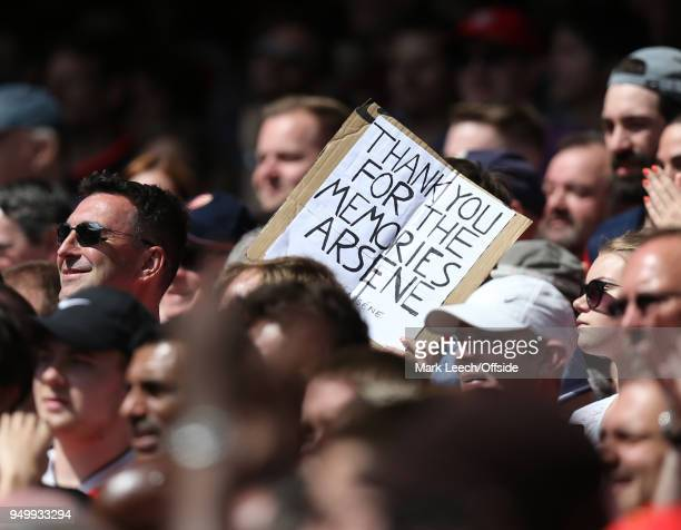 a home made banner supporting Arsenal manager Arsene Wenger during the Premier League match between Arsenal and West Ham United at Emirates Stadium...