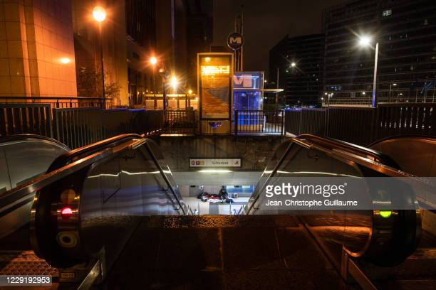 A homeless man took shelter in the metro at the foot of the European Commission on October 20, 2020 in Brussels, Belgium. Bars and restaurants in...