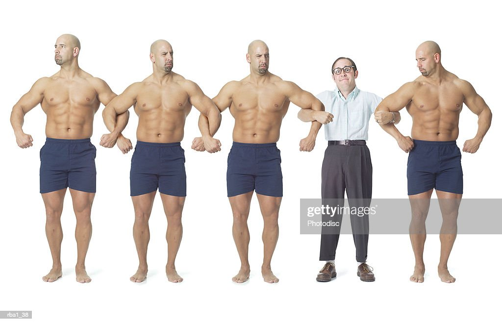 a human chain of strong bodybuilders temporarily interrupted by the body of a small nerdy man : Stockfoto