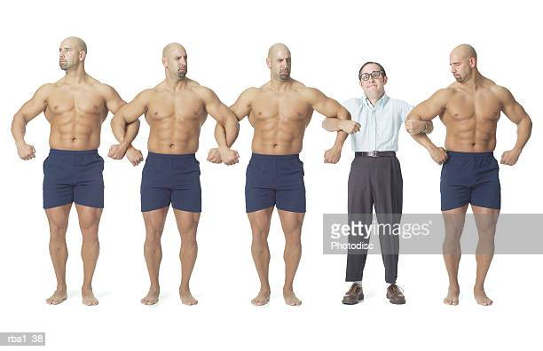 a human chain of strong bodybuilders temporarily interrupted by the body of a small nerdy man