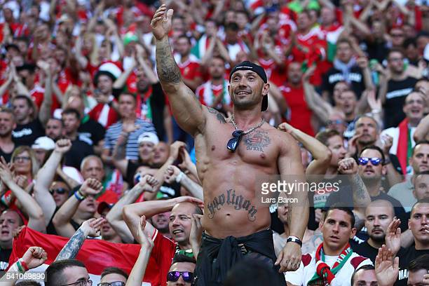 a Hungary supporter shows off a tattoo on his torso reading 'Hooligan' during the UEFA EURO 2016 Group F match between Iceland and Hungary at Stade...