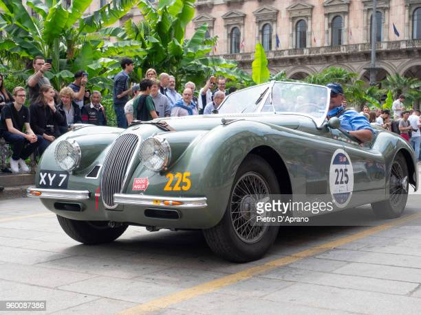 a Jaguar XK 120 OTS during 1000 Miles Historic Road Race on May 19 2018 in Milan Italy