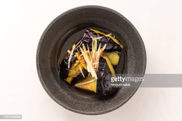 a japanese eggplant dish - 天ぷら ストックフォトと画像