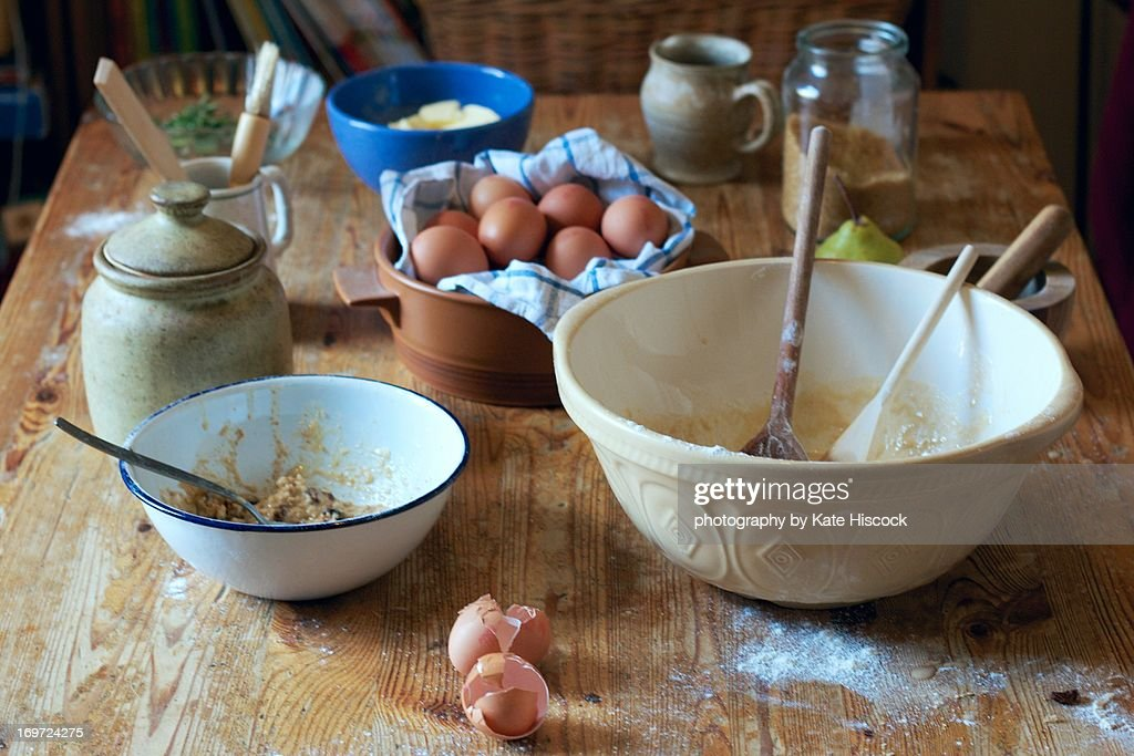 a kitchen table in the middle of baking : Stock Photo