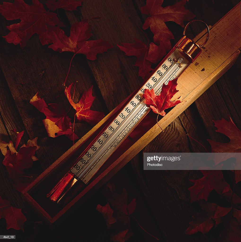 a large thermometer lays outside a box as red autumn leaves fall around it : Foto de stock