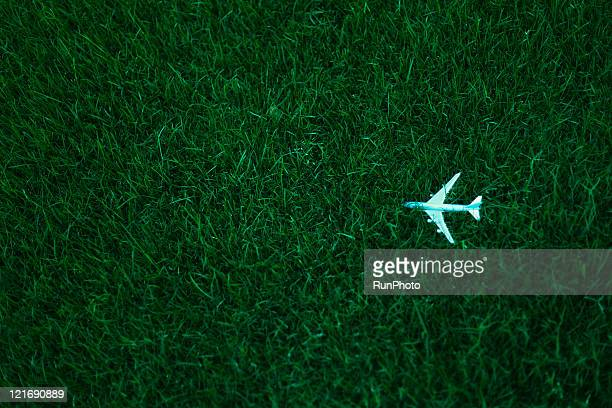 a lawn airplane high angle view - runphoto ストックフォトと画像