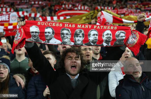 A Liverpool supporter singing with passion during the Premier League match between Liverpool FC and Arsenal FC at Anfield on December 29, 2018 in...