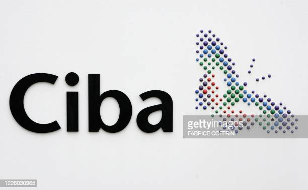 a logo of the Swiss chemicals group Ciba 23 March 2006 in Schweizerhalle near Basel AFP PHOTO FABRICE COFFRINI