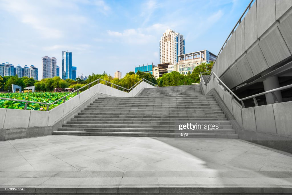 a long upward staicase in city : Stock Photo